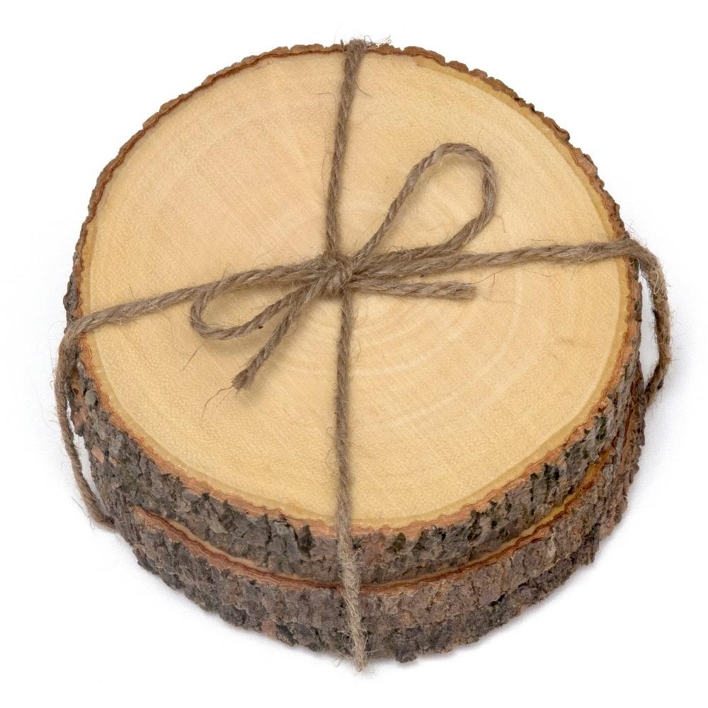 "Image of ""Lipper International Acacia Tree Bark Coasters Set of 4 - Hemp Tie (4.5""""), Brown"""