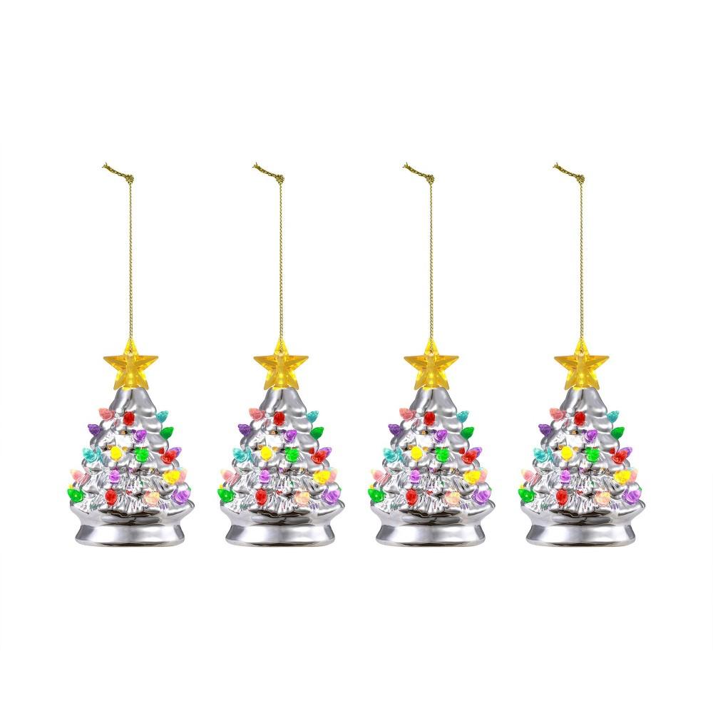 "Image of ""4pc/5.5"""" Nostalgic Trees Decorative Figurine Silver - Mr. Christmas"""