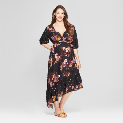 56705c40a5bd Maternity Floral Print Mix Asymmetrical Hem Dress - Isabel Maternity by  Ingrid & Isabel™ Black