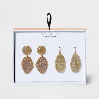 SUGARFIX by BaubleBar Druzy Drop Earring Set 2pc - Light Gray