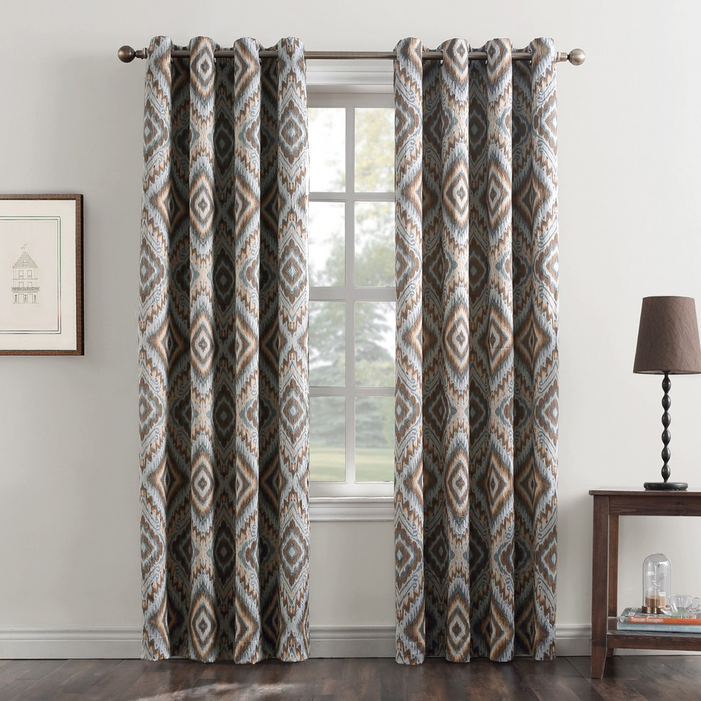 Laconia Medallion Print Crushed Texture Grommet Curtain Panel Stone (Grey) 50