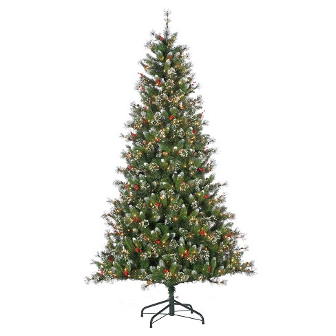 7.5ft Pre-Lit Artificial Christmas Tree Hard/Mixed Needle Glazier Pine With Iced Tips - Clear Lights : Target