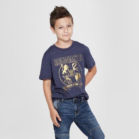 Boys' Harry Potter Hogwarts Crest Short Sleeve Graphic T-Shirt - Navy - image 1 of 3