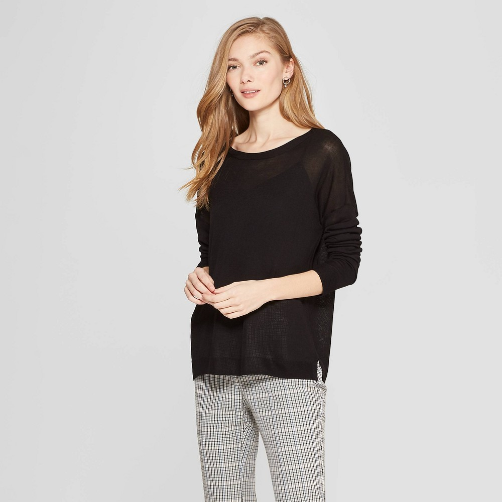 Women's Long Sleeve Crew Neck Pullover Sweater - A New Day Black XL