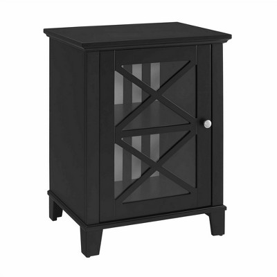 Rapture Awning Stripe Small Cabinet Black - Linon