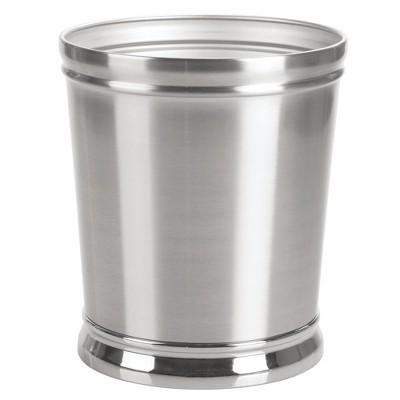 mDesign Decorative Round Small Trash Can Wastebasket, Garbage Container Bin