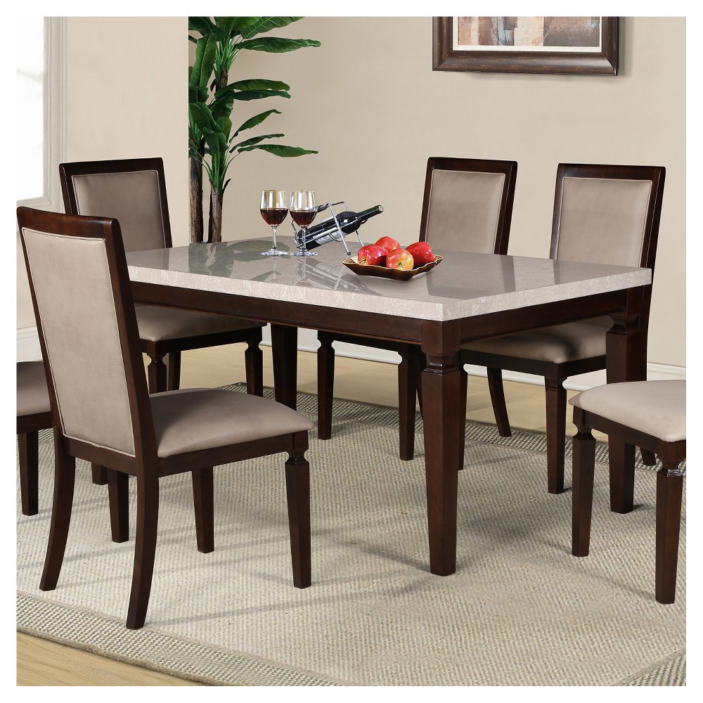 Marissa Faux Marble Dining Table Espresso - Home Source Industries
