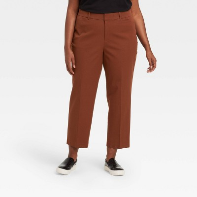 Women's Plus Size Wide Leg Cropped Trousers - Ava & Viv™