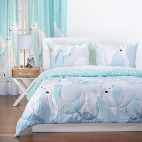 White Bear Reversible Comforter With Sham Blue - Crayola - image 1 of 4