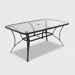 Cosco Paloma Steel & Tempered Glass Table Top Patio Dining Table - Gray