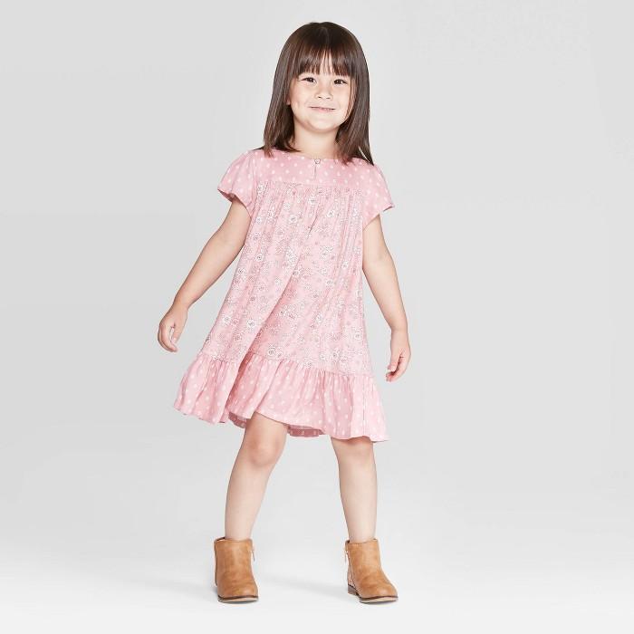 OshKosh B'gosh Toddler Girls' Floral Dot Flutter Sleeve Dress - Pink - image 1 of 3