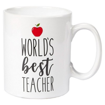 Blue Panda World's Best Teacher White Ceramic Coffee Mug Tea Cup 16 oz Large Novelty Stoneware Gift