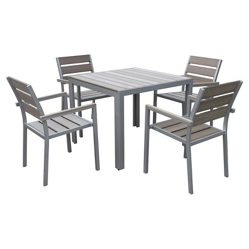 Gallant 5pc Square Metal Patio Dining Set Sun Bleached Gray Corliving Target
