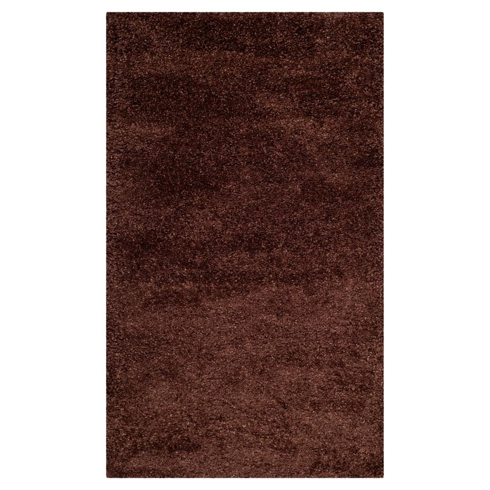 Brown Solid Shag/Flokati Loomed Area Rug - (4'X6') - Safavieh