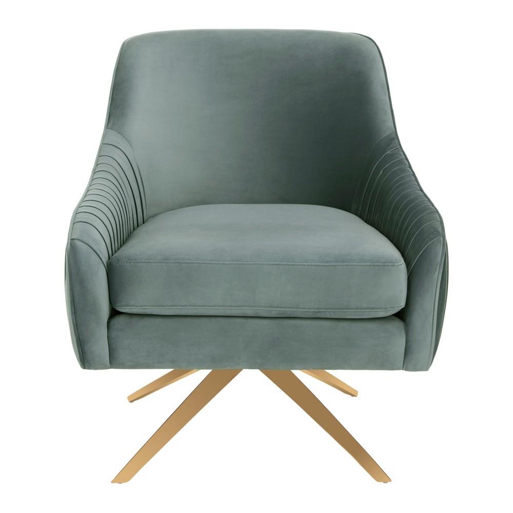 Tiffany Pleated Swivel Arm Chair Seafoam - Safavieh