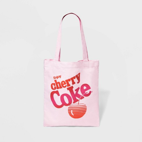 Coca-Cola Canvas Cherry Coke Tote Handbag - Light Pink - image 1 of 3