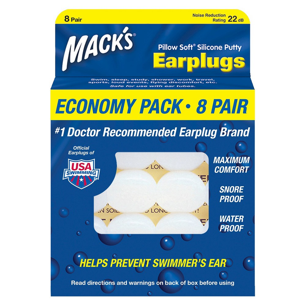 Mack's Pillow Soft Silicone Putty Earplugs - 8 pair