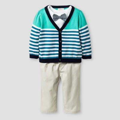 Baby Boys' 3pc Stripe Cardigan, Bowtie Bodysuit and Twill Pants Set - Cat & Jack™ White/Khaki 6-9 Months