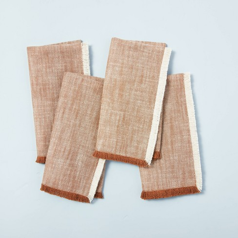 4pc Cross Weave with Fringe Napkin Set Pumpkin Brown - Hearth & Hand™ with Magnolia - image 1 of 3