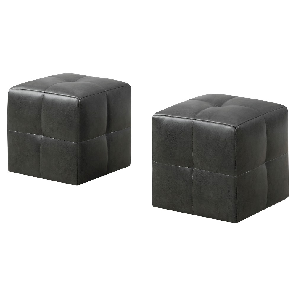 Kid's Ottoman - 2pc Set - Charcoal Gray - EveryRoom