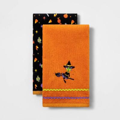 2pk Witch Halloween Hand Towel Set Orange - Hyde & EEK! Boutique™