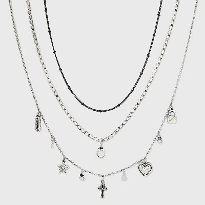 Cross Charm Layered Necklace Set 3pc - Wild Fable™ Silver