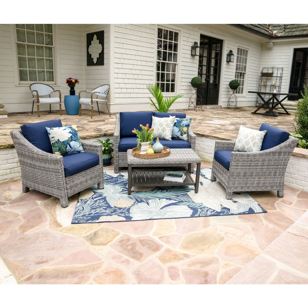 Image of 4pc Marietta All-Weather Wicker Chat Set Navy - Leisure Made