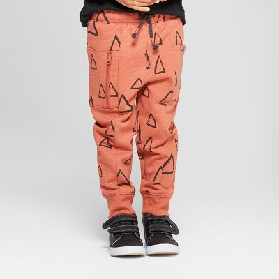 Toddler Boys' Drawn Triangles with One Side Pocket Jogger Pants - Cat & Jack™ Orange 2T