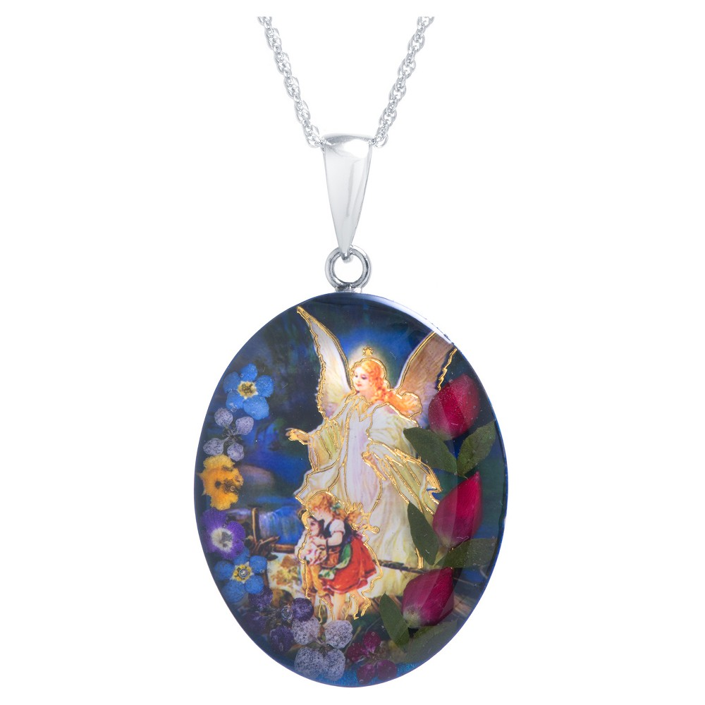 Women's Sterling Silver Guardian Angel Pressed Flowers Oval Pendant (18), Size: Small, Multi-Colored