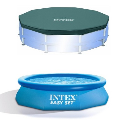 Intex 10ft Round Swimming Pool Cover & Easy Set 10ft x 30in Inflatable Pool