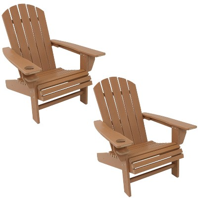 Sunnydaze Plastic All-Weather Outdoor Adirondack Chair with Drink Holder, Brown, 2pk