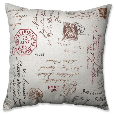 Linen/Red French Postale Floor Throw Pillow (24.5 x24.5 )- Pillow Perfect