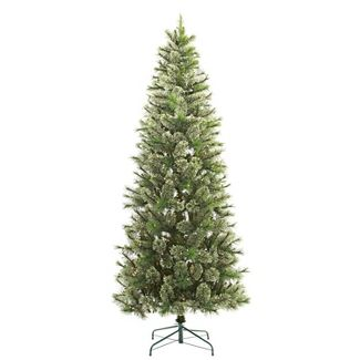 7.5ft Pre-lit Artificial Christmas Tree Slim Virginia Pine with Clear Lights - Wondershop™
