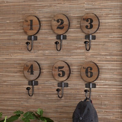 Industrial Numbered Wall Hooks - Set of 6