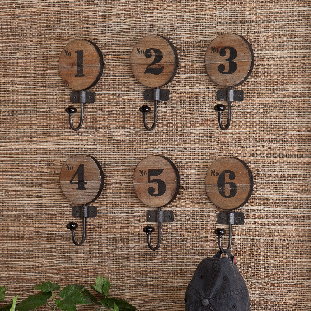 Image of Industrial Numbered Wall Hooks - Set of 6