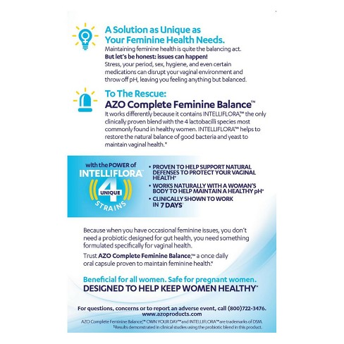 AZO Complete Feminine Balance daily Probiotic - 30ct