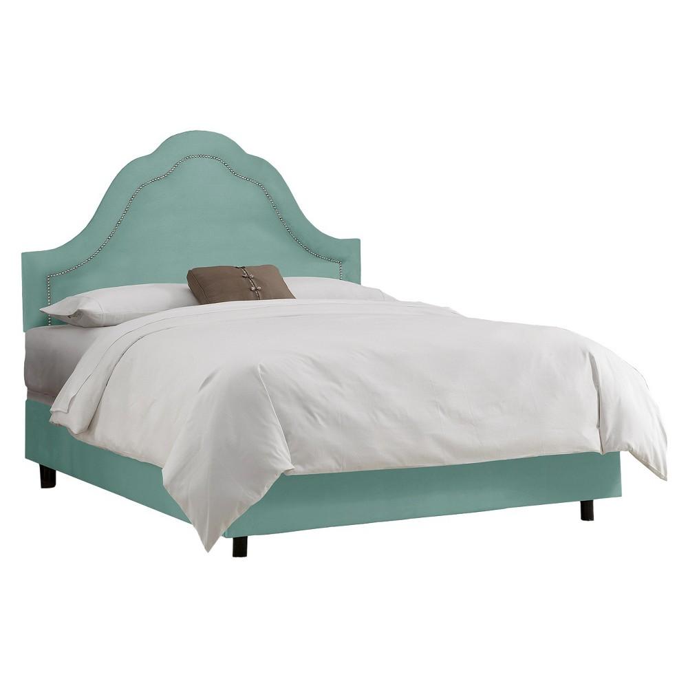 Skyline Custom Upholstered Arch Inset Nail Button Bed - Twin - Skyline Furniture, Velvet Caribbean