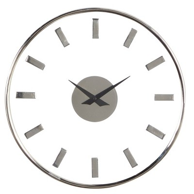 """14"""" x 14"""" Round Aluminum Wall Clock with Transparent Face Silver - Olivia & May"""