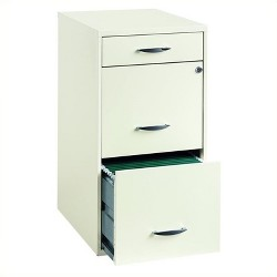 Steel 3 Drawer Steel File Cabinet in White-Pemberly Row