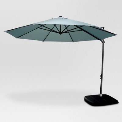 Delicieux 11u0027 Aluminum Push Button Tilt Patio Offset Umbrella With Base   Azure    Threshold™