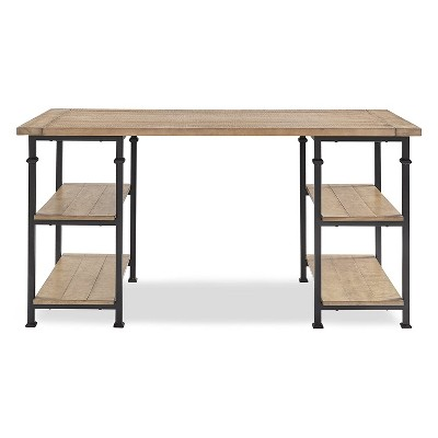 Homelegance Factory Collection Modern Rustic Solid Wood Metal Desk with Organization Storage Shelves, Black