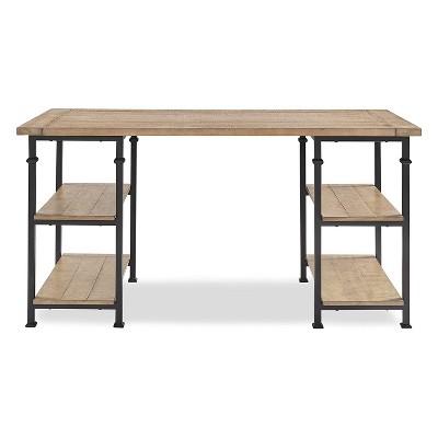 Homelegance Factory Collection Modern Rustic Solid Wood Metal Desk with Organization Storage Shelves, Black