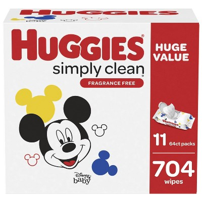 Huggies Simply Clean Unscented Baby Wipes 11 Flip-Top Packs (704ct)