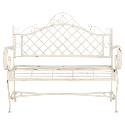 Abner Wrought Iron Outdoor Garden Bench Antique White Safavieh