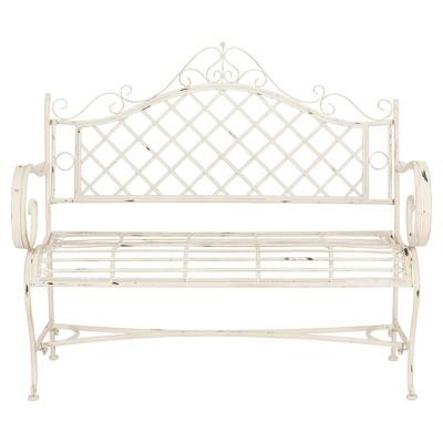 Abner Wrought Iron Outdoor Garden Bench   Antique White   Safavieh