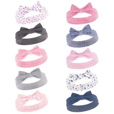 Hudson Baby Infant Girl Cotton Headbands 10pk, Pink Blue Flower, 0-24 Months