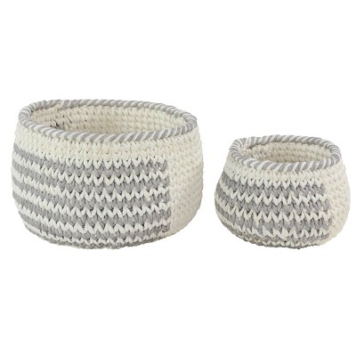 """Olivia & May 18.5""""x12.5""""x13.5""""x10"""" Set of 2 Round Mesh Over Cotton Rope Storage Baskets with No Handles"""