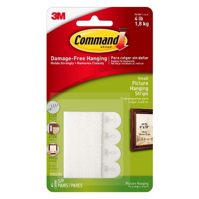Command Small Sized Picture Hanging Strips (4 Sets of Strips)White