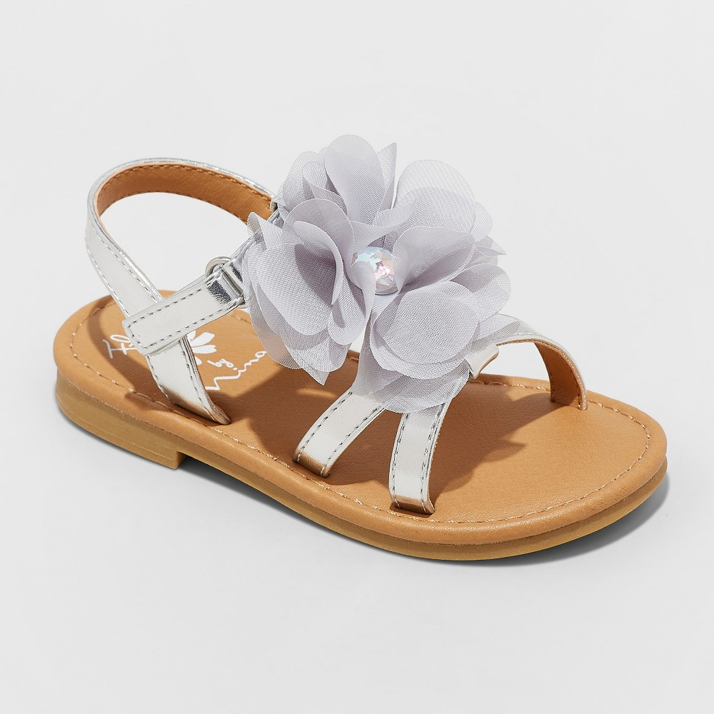 Toddler Girls' Flowers by Nina Annabel Floral Ankle Strap Sandals - Silver 8