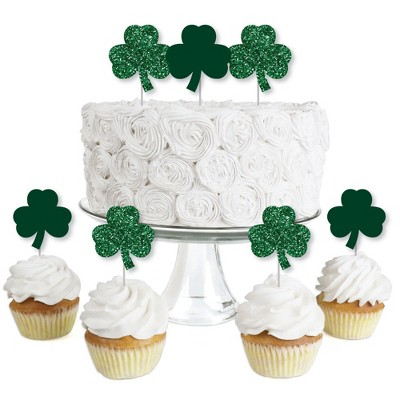 Big Dot of Happiness St. Patrick's Day - Dessert Cupcake Toppers - Saint Patty's Day Party Clear Treat Picks - Set of 24